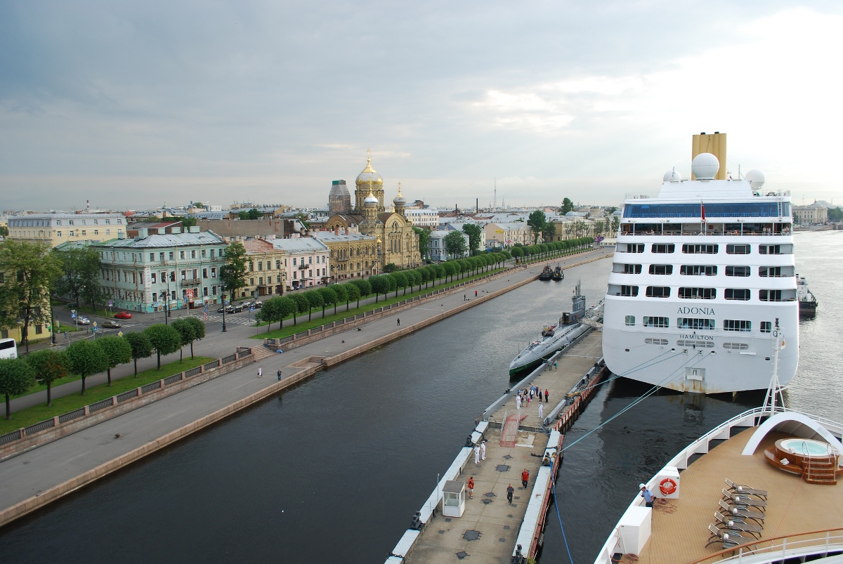 Cruise ship docked in St. Petersburg